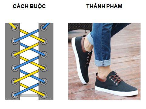 Cahs buộc dây giày kiểu thắt chéo