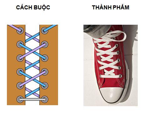 Cách thắt dây giày kiểu thắt dây vắt chéo lên trên
