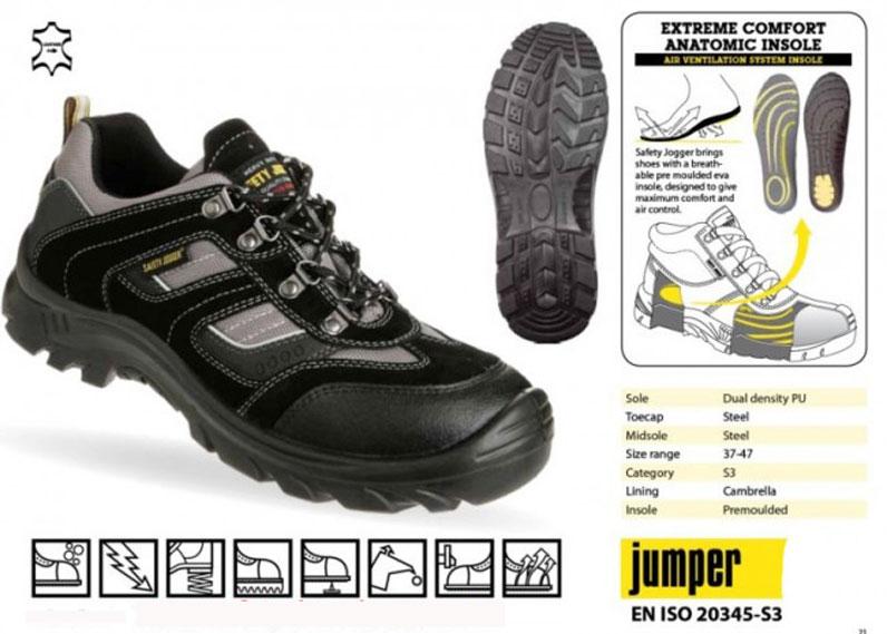 Thông số kỹ thuật của giày bảo hộ Safety Jogger Jumper S3 SRC